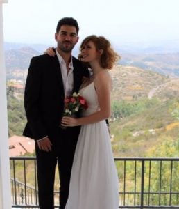 Abigale Mandler at her wedding with her long-term boyfriend