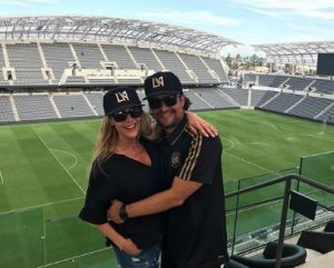 Julie wishes 6th marriage anniversary to her husband posting a together picture at Banc of California Stadium