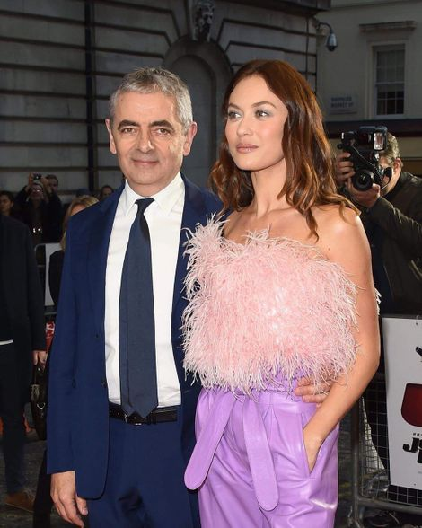 Olga Kurylenko on the red carpet with Rowan Atkinson