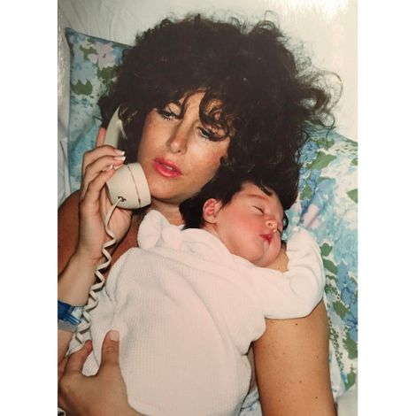 Elizabeth Gillies at the day of her birth with mother Pamela Gillies.