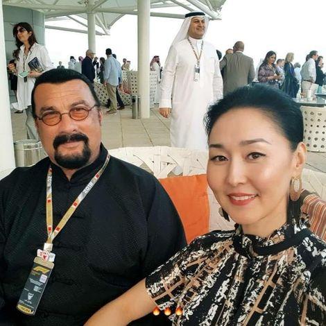 Erdenetuya Seagal with her spouse