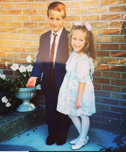 Kay Adams and her brother during their childhood days