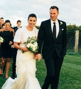 Andrew Frankel on the day of his wedding with his wife, Bridget Moynahan