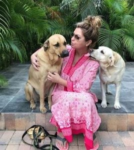 Shania Twain with her dogs