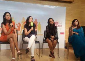 Aabha Bakaya speaking in a program with Naomi Datta, Meghna Pant