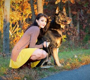 CinCinBear posts a picture with a German Shepherd Dog