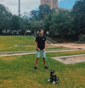 Lannan walking around with his dog