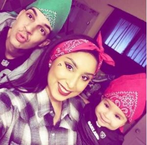 Moco with his fiance, Aury and their daughter