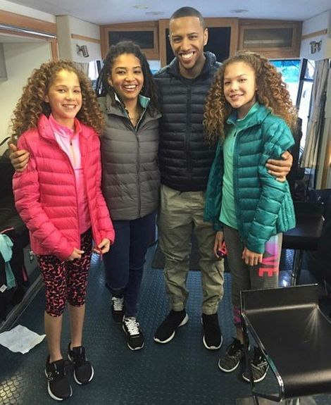 Tanita Strahan with her two half sisters and a younger brother