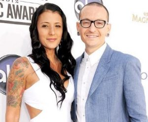 Chester Bennington with his widow wife, Talinda Bentley