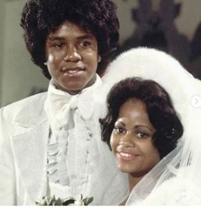 Hazel Gordy with her ex-husband, Jermaine Jackson on their wedding