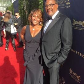 Linda Reese with her husband, Greg Mathis during an event