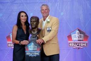 Deanna Favre in the Hall of Fame with her husband