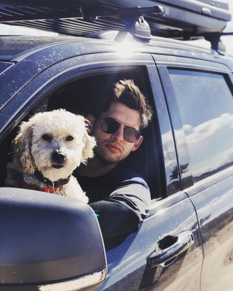 Hunter March with his dog