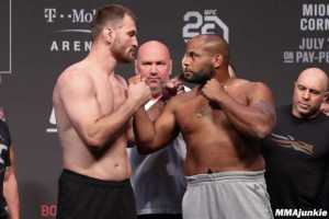 Stipe Miocic facing off with Daniel Cormier on July 6 ahead of their fight at UFC 226