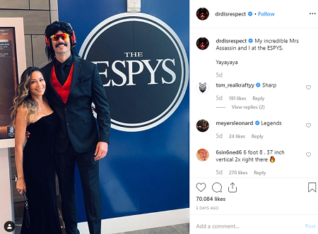 Dr DisRespect and his wife at ESPYS
