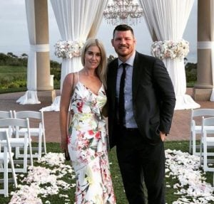 Rebecca Bisping during her wedding with husband, Michael Bisping at The Resort At Pelican Hill