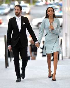Iddo Goldberg and Ashley Madekwe holding hands in the public