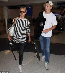 Amber Valletta with her son, Auden McCaw