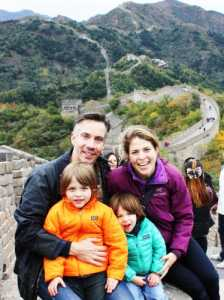 Gloria Riviera with her husband, Jim Sciutto and two sons
