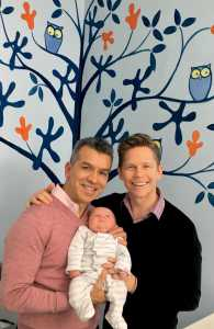Jack Noseworthy with his wife, and son