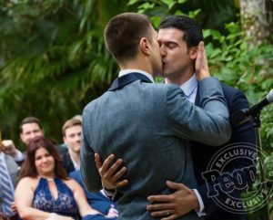 Tommy DiDario kissing Gio Benitez on the day of their wedding on 16th April 2016
