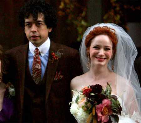 Geoffrey Arend and Christina Hendricks wedding  photo