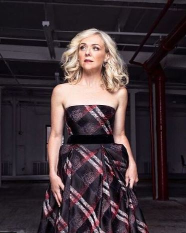 Photo of Rachel Bay Jones promoting the outfit of MurphyMade design dressed by Randi Rahm.