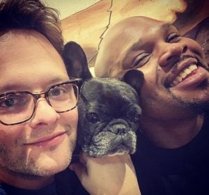 Michael James Scott with his fiance, Jeremy Merrifield, and his pet pit bull.