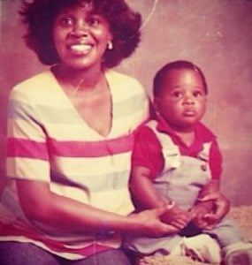 Childhood photo of Michael James Scott with his mother.
