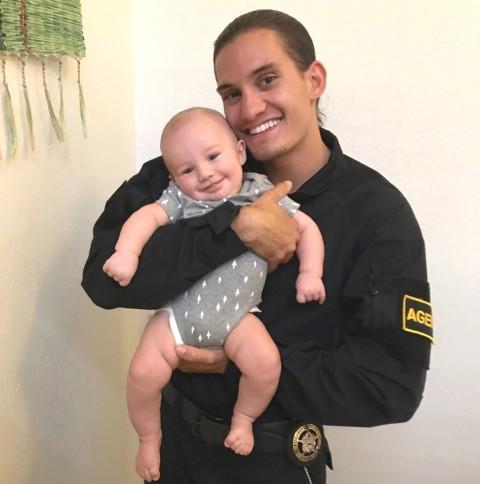 Dakota with his new-born son