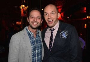 Nick Kroll and Paul Scheer attend the after party for the premiere of Millenium Entertainment's 'Hell Baby' at Beacher's Madhouse on August 19, 2013 in Hollywood, California.
