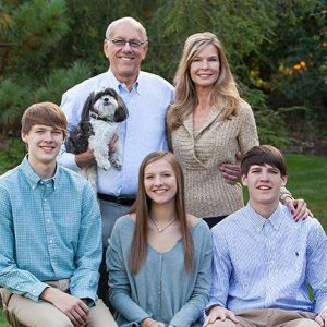 Photo of Elaine and Boeheim's daughter and two sons.