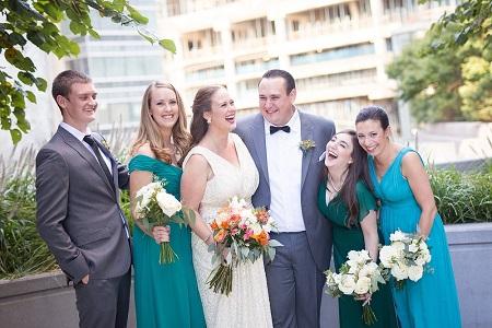 Allie Elliot and Graham Elliot on the day of their wedding