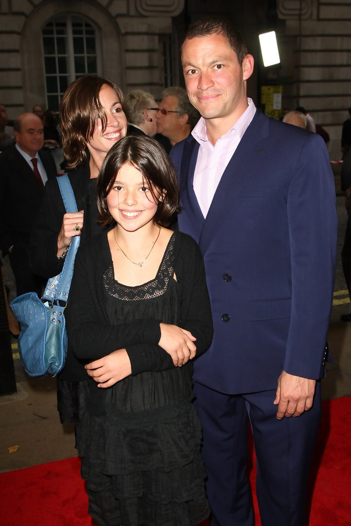 Dominic West with his girlfriend and daughter