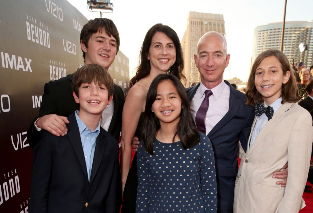 Bezos with his family