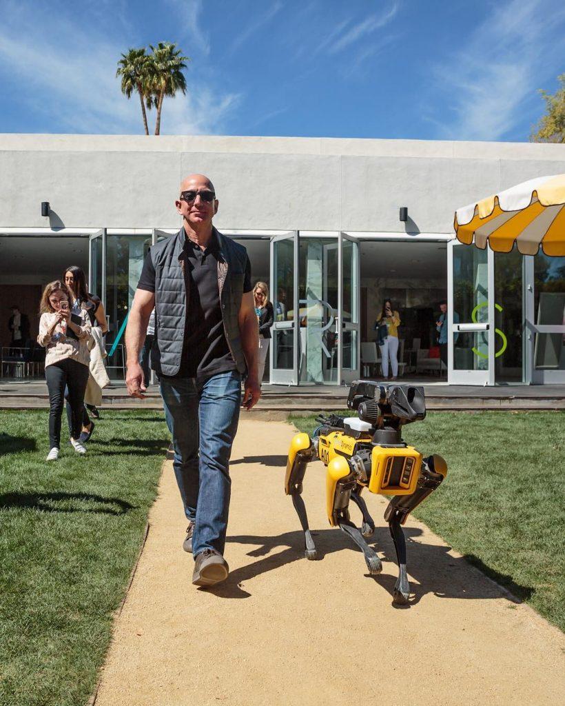 Bezos with an artificial dog