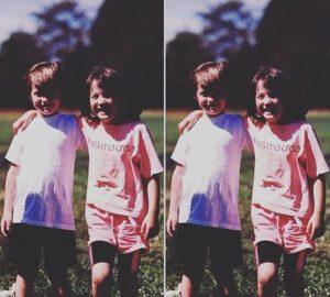 Childhood photo of Megan Rapinoe with her twin sister, Rachael.