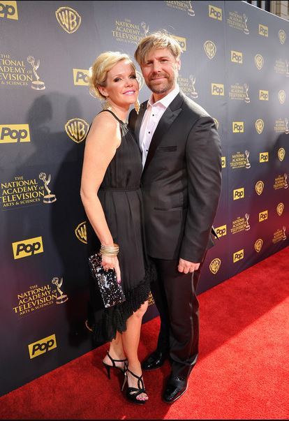 Maura West and his husband, Scott DeFreitas arrived at the 42nd Annual Daytime Emmy Awards at Warner Bros. Studios on 26th April 2015, in Burbank, California.