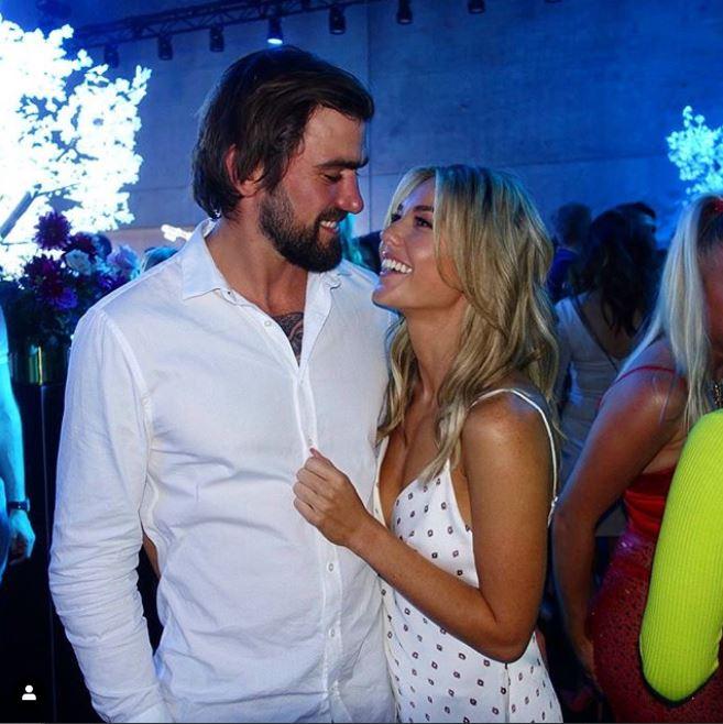 Sam Frost and her boyfriend, Dave Bashford in Mercedes-Benz Fashion Week Australia.