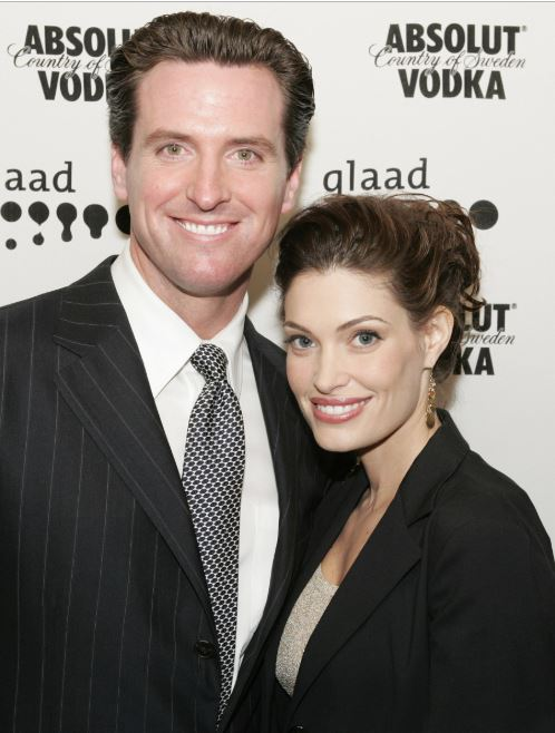 Photo of Gavin Newsom and his first wife, Kimberly Guilfoyle.