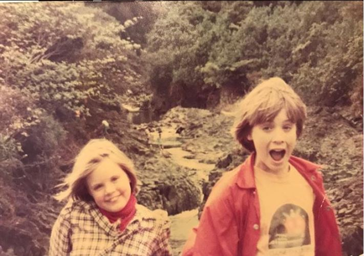 Childhood photo of Gavin Newsom with his sister.
