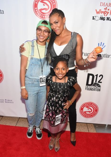 """April Parker-Jones and her kids arrived at Diary Of A Wimpy Kid: The Long Haul"""" Atlanta screening hosted by Dwight Howard at Regal Atlantic Station on 14th May 2017, in Atlanta, Georgia."""