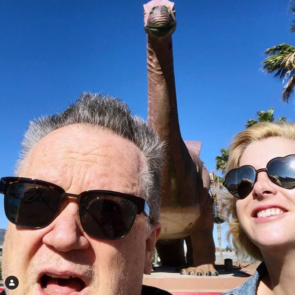 Robert Rist and his future wife, Ali Riseling Thomas in Cabazon Dinosaurs.