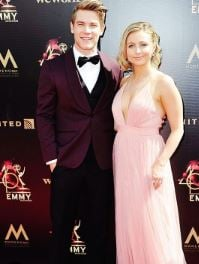 Lucas Adams with his girlfriend, Shelby Wulfert on the arrival of Primetime Emmy Award.