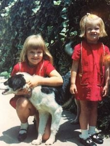 Childhood photo of Michelle Stafford with her sibling sister.