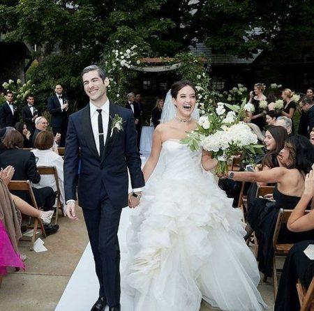 Alaia Baldwin on her wedding day along her husband Andrew Aronow