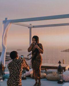 De'arra and Ke Walker on their engagement on August 19, 2019, inSantorini, Greece