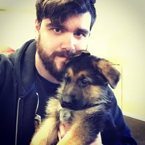 Rob with his dog, Garrus