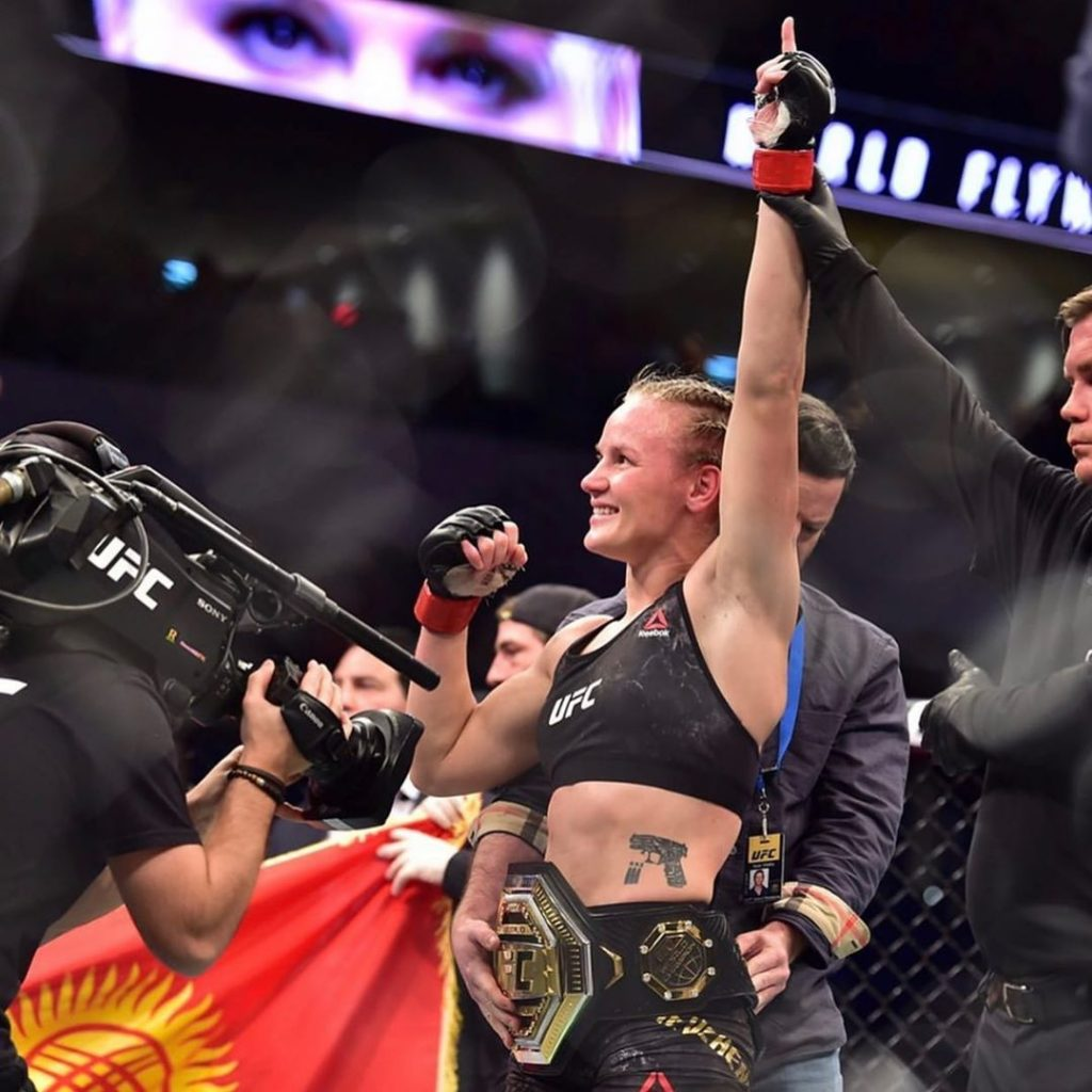 Valentina Shevchenko winning the flyweight title